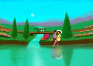 Couple by the Lake, Digital painting, Ioannis Chrysochos
