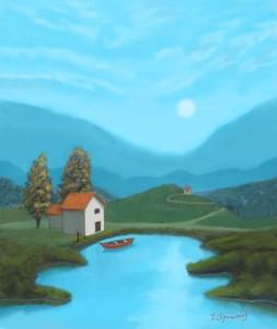 Blue Lake in Moonlight Digital painting