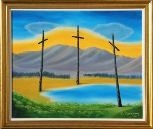 Three Crosses around the lake Oil painting Painted by Ioannis Chrysochos