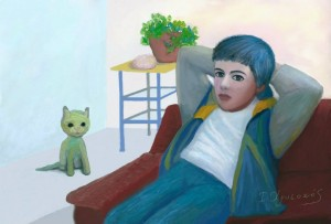 Timothy wiht Green Cat, Digital painting, Ioannis Chrysochos