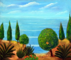 Trees near the sea Acrylics and Oil painting on canvas Painted by Ioannis Chrysochos