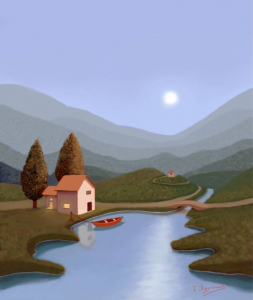 Blue Lake in Moon Light second version Digital expansion painting based on my oil painting