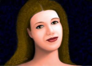 Imaginary woman portrait with glazings