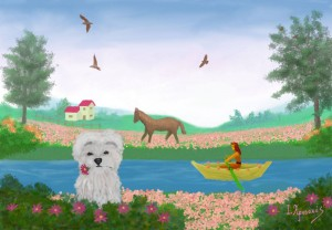 Dog with a flower in its mouth.. Girl in a small boat. Horse in the field with flowers. Distance house and birds.