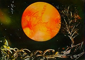 Red moon behind the tree Spray painting 50x35 cm